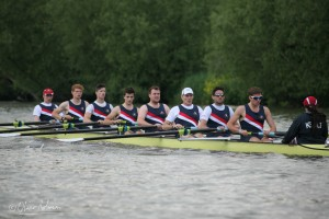 Summer Eights 2014 M1, the first crew to use our new Empacher. From Bow (l-r), Paolo Spingardi, Matt Kerin, Archie Blissett, Dominic Parr, James Gardner, Tim Foster, Storm Uru, Will Geffen. Coxed by Rachel Kelly